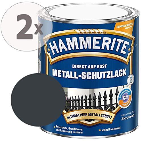 Hammerite Metall-Schutzlack glänzend Grundierung Rostschutz anthrazitgrau Sparpaket, 2 x 750ml
