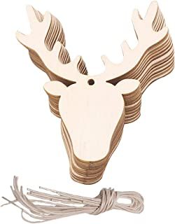 Amosfun 20PCS Wooden Deer Head Christmas Ornaments Pendant Hanging Wooden Pendant Decoration Wooden DIY Craft Christmas Tree Hanging Ornaments