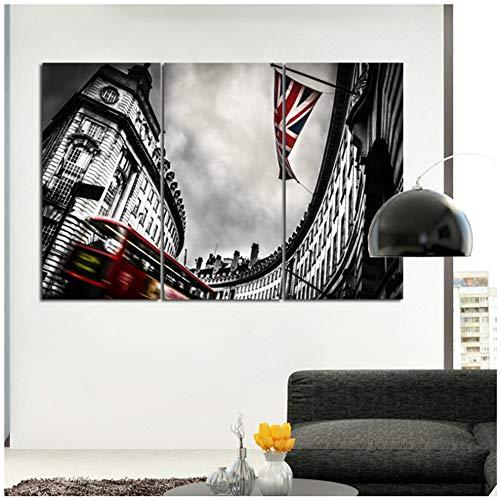 chtshjdtb muurkunst afbeeldingen Engeland vlag en gebouw landschap schilderij voor de woonkamer canvas print zwart-wit kunst -40x60cmx3pcs No Frame