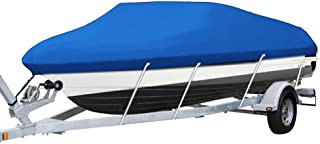 MOTOOS Blue Heavy Duty 210D Waterproof Trailerable Boat Cover Fit for 14-16ft Beam 90 V-Hull Fishing SKI Boat
