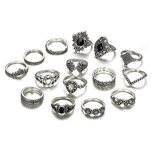 Isabelle & Emilie 15PCS Bohemian Retro Knuckle Stacking Rings Vintage Punk Silver Mid Rings Sets for Women and Girls