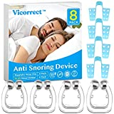 Vicorrect Upgraded Anti Snoring Devices, 4 Magnetic Nose Clips with 4 Nasal Dilators, Snoring Solution Silicone Anti Snore Clipple, Comfortable & Professional