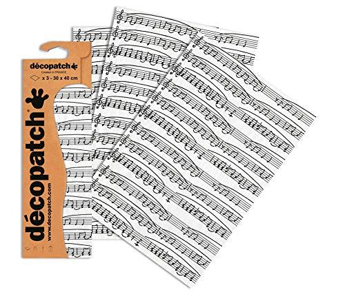 Decopatch - Láminas Decorativas (395 x 298 mm, 3 Unidades), diseño de Notas Musicales