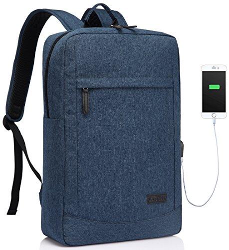 VASCHY Zaino PC 17 Pollici, Zaino Computer Sottile Zaino Lavoro con Parapioggia Impermeabile Zaino Porta Pc con Porta di Ricarica USB Blu