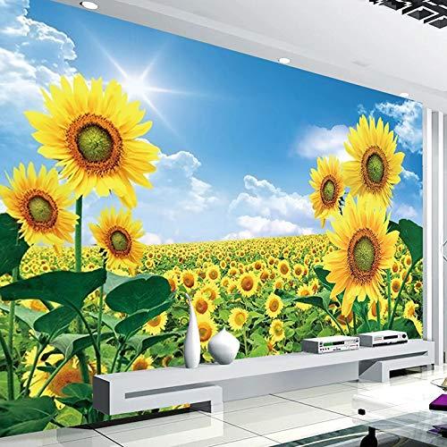 ZPDM 3D Schälen und Einfügen Wandaufkleber 15 Größen Vliesstoff oder Vinyl Wandgemälde - Sonnenblume Sonnenschein Pflanze Hirte - Wandbilder Tapeten Fototapete Benutzerdefinierte Kinder Mädchen Schlaf