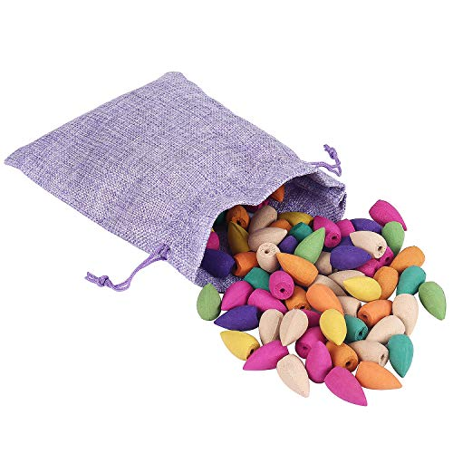 Feelin' Homey 100Pcs Backflow Incense Cones | 10 Mixed Natural Scents - Apple Rose Lily Tulips Rosemary Lavender and More | Backflow Cones for Backflow Incense Burner Holder