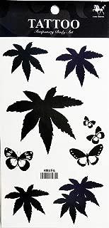 PP TATTOO 1 Sheet Butterfly Pot Leaf Ganja Marijuana Weed Retro Boho Hippie Stickers Tattoos Waterproof Tattoo Sexy Fake Body Arm Art Sticker Fake Tattoo Stickers Removable