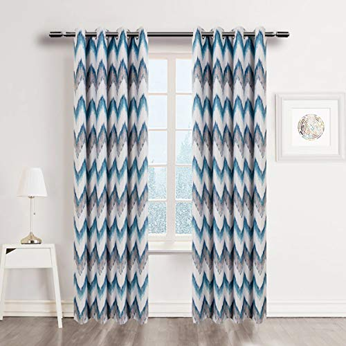 MYRU 2 Panels Set Chevron Curtains for Living Room Room Darkening Geometric Curtains for Bedroom (2 Panels 51 by 96 Inch,Teal and Grey)