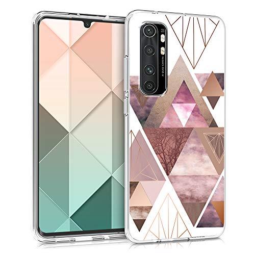 kwmobile Hülle kompatibel mit Xiaomi Mi Note 10 Lite - Handyhülle - Handy Hülle Glory Dreieck Muster Rosa Rosegold Weiß