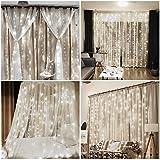 Vegena LED USB Lichtervorhang 3m x 3m, 300 LEDs Lichterkettenvorhang mit 8 Modi Lichterkette Gardine für Partydekoration Schlafzimmer Innenbeleuchtung Weihnachten Deko Weiß [Energieklasse A+++] - 6