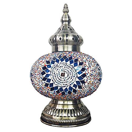 Turkse Handgemaakte Tafellamp Marokkaanse Tafellamp 25 W LED Bureaulamp multi-gekleurde Glazen Lampenkap Retro Romantische Nachtlampje voor Nachtkastje Slaapkamer Woonkamer Kantoor Decor