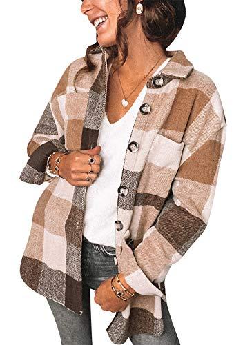 OMZIN Damen Karierte Hemdjacke Jacke Knöpfe Oversized Langarm Holzfällerjacke Kurz Plaid Plüsch Fleece Jacke Tunika Boyfriend Brown M