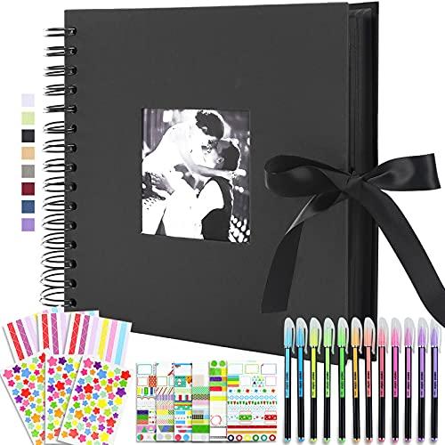 Vienrose Álbum de Fotos Scrapbook 10x15 para Pegar y Escribir 80 Negra páginas DIY Regalos de Boda Aniversario Bebé Cumpleanos Familiares,30x30 cm