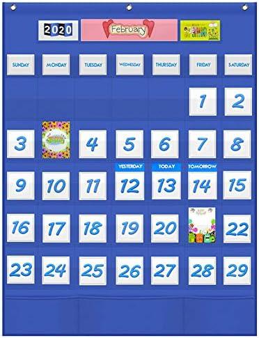 VNOM Monthly Calendar Pocket Chart for Classroom Hanging Calendar for Kids Learning for Preschool product image