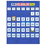 preschool birthday chart - VNOM Monthly Calendar Pocket Chart for Classroom Hanging Calendar for Kids Learning for Preschool Kindergarten Home,Multiple Colorful Cards Included,26x34 Inch