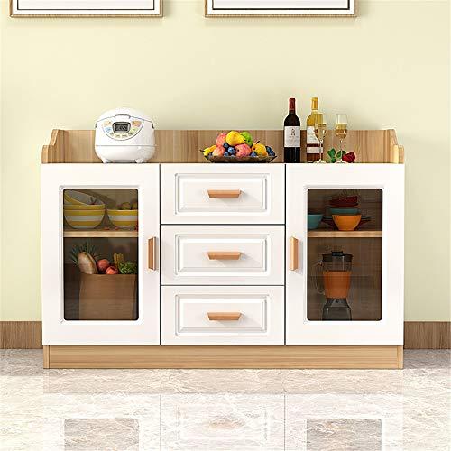 JOMSK Aparador El Sitio de Madera Buffet Gabinete de Almacenamiento de Estar Aparador Mesa Decorativa con Puertas de Entrada Cocina Comedor Consola (Color : Wood, Size : 120x40x80cm)