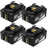 Gakkiti マキタ 互換 バッテリー 18V 6.0Ah makita 互換 バッテリー リチウムイオン電池 BL1830 BL1840 BL1850 BL1860 BL1860B 大容量 互換対応 6000mAh 電動工具用 バッテリー 残量表示付 過発熱、過電流、過充電、過放電防止の保護回路が内蔵 4点セット