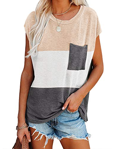 Imily Bela Womens Color Block Cap Sleeve Tshirts Casual Summer Loose Tops with Pocket Apricot