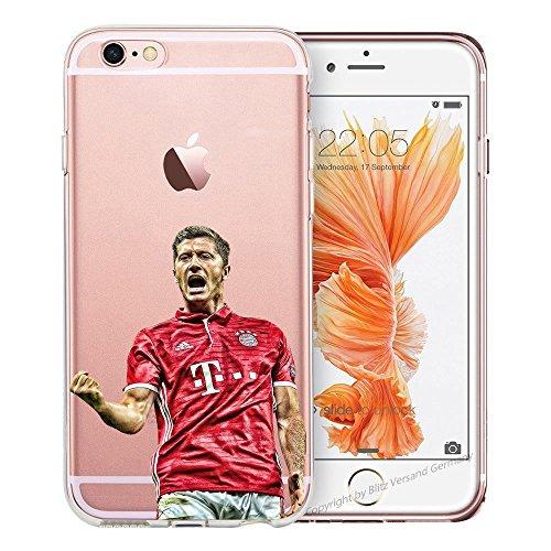 Handyhülle Weltmeister Cup Fussball kompatibel für iPhone 6 / 6s Lewandowski Schutz Hülle Case Bumper transparent rund um Schutz Cartoon M7