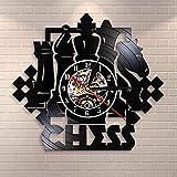 CVG Juego de ajedrez Arte de Pared Reloj de Pared Tablero de ajedrez Piezas Negras Estrategia Jugador Club Chess Master Vinyl Record Clock Chess Lovers Gift