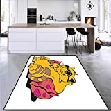 Funny, Anti-Skid Rugs, Fat Tomcat with Glasses Lying on A Cushion Relaxing Lazy Kitty Pets Pillow Cartoon, Area Rug Dorm 6' x 7' Apricot Pink