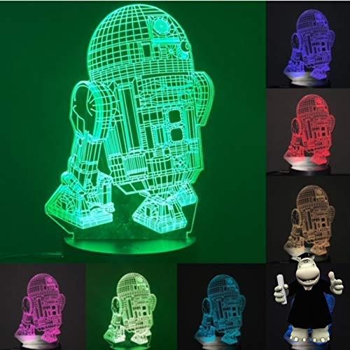 3D Star Wars R2D2 - Luz nocturna (7 colores intercambiables)