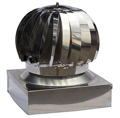 Aspiratore Fumi Girevole Inox Base Quadra Eolico Testa Camino - 42 cm x 42 cm