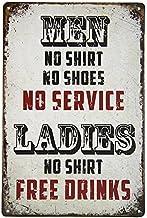 Pôster erlood masculino sem estampa de camisa sem serviço feminino Free Drinks Man Cave placa de lata retrô metal barra Pu...