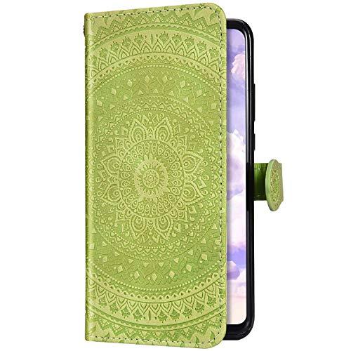 Uposao Kompatibel mit Samsung Galaxy J7 2017 Handyhülle Leder Hülle 3D Mandala Blumen Muster Brieftasche Klapphülle Flip Case Schutzhülle Tasche Magnet Kartenfach Standfunktion,Gelb Grün