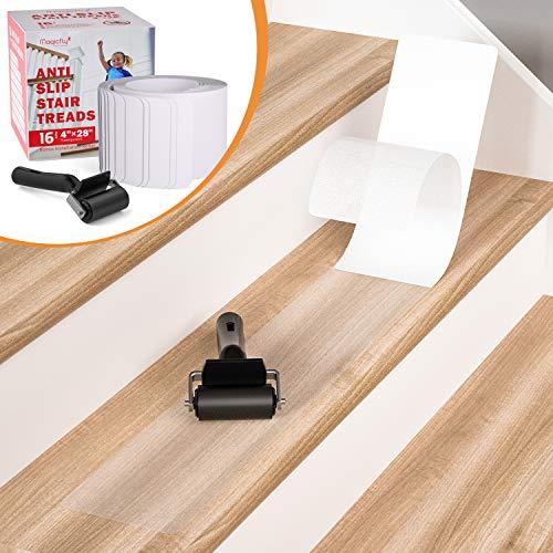 Magicfly 16 Stück 10 x 70 cm Anti-Rutsch Transparent Klebeband Streifen für Treppen mit Rolle, Antirutschband Rutschfestes Treppenband
