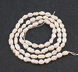Perlin - Perlas de agua dulce cultivadas de 6 mm, color blanco y crema, grano de arroz natural, barroco, piedras preciosas, perlas, joyas, perlas para enhebrar, perlas de gema D535.