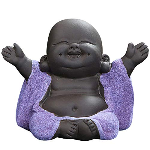 Buddha Statue, Chinese Baby Buddha Decor, Little Monk Figurine Smiling Buddha Decor, Lovely Ceramic Buddha, Chinese Tea Set Accessories Collections, Home Office Car Decors