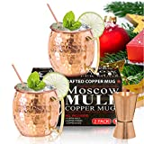 Moscow Mule Copper Mugs - Set of 2-100% HANDCRAFTED - Food Safe Pure Solid Copper Mugs - 16 oz Gift...