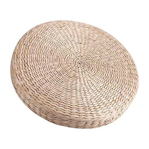 DEWIN Cojín Redondo de Tatami - 40cm Pouf Redondo Tatami Cojín para el Suelo Cojines de Paja Esterilla de Yoga Suave