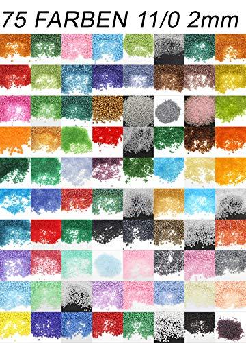 Rocalla Rocailles - Juego de 75 Perlas Redondas de 2 mm, 1,5 kg, 100 000 Unidades