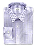 COOPER & STEWART Big & Tall Non-Iron Double Bar Check Spread Collar Dress Shirt   Lavender 19 x 34/35 Big