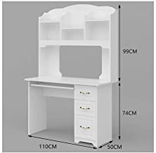 LJBH Computer Desk, Student Desk, Nordic Style Desk, Desk, Warm White -110CM Computer desk, desk, durable and practical (C...