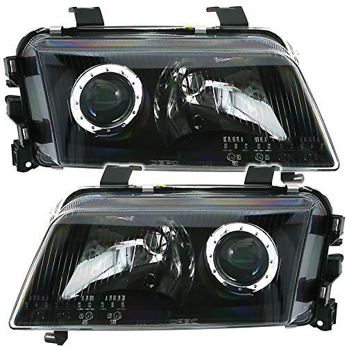 Lot de phares Depo en verre transparent noir avec lentille en allemand