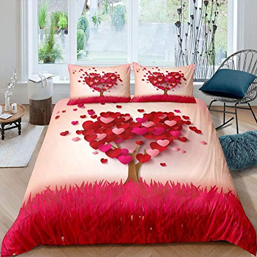 Rmooaceo 3D Bedding Set - Couple Red Romantic Plant Tree - (Super King: 260 X 230 Cm) Photos Bed Sheets Queen Twin Full Duvet Cover Bed Sheet Pillowcase 3Pcs/Set Fitted Sheet Home Textiles + 2 Pillo