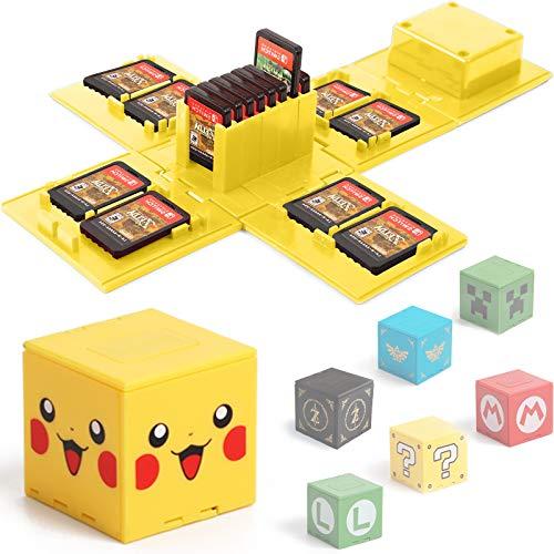 BAYINBROOK Étui de Rangement pour Jeux Nintendo Switch - Peut contenir jusqu'à 16 Jeux Système de Rangement de Protection Organisateur de Cartes de Jeu Étui Rigide avec 16emplacements (Jaune Pikachu)
