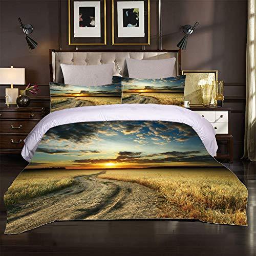 FGHYTR funda de edredón para dormitorio Impresión 3D de ropa de cama Suave De Microfibra 3 Piezas Y 2 Fundas De Almohada con Cierre de Cremallera Paisaje de campo de trigo al atardecer 140x200cm para