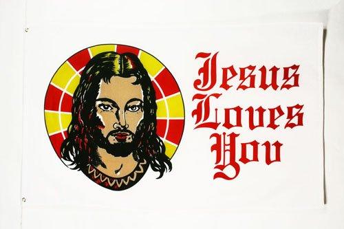 AZ FLAG Flagge Jesus Loves You 150x90cm - Jesus LIEBT EUCH Fahne 90 x 150 cm - flaggen Top Qualität