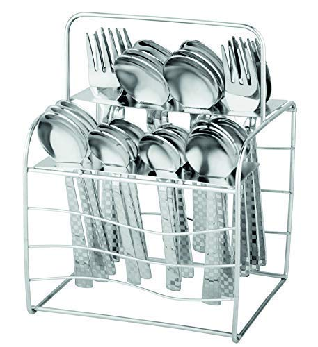 Parage Decora Premium Stainless Steel Cutlery Set - Set of 25 (Contains: 6 Table Spoons, 6 Forks, 6 Master Spoons, 6 Soup Spoons), Designer - Silver