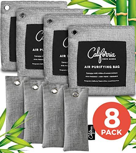 Bamboo Charcoal Air Purifying Bag (8-Pack) - 4x200g Charcoal Bags Odor Absorber - 4x50g Mini Home Air Freshener Bag - Musty Car Freshener - Odor Eliminators for Home - Car Air Freshener