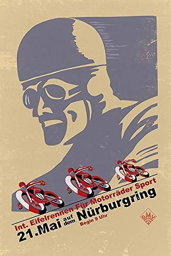Keilrahmen-Bild – Mark Rogan: Nürburgring Vintage Racing Leinwandbild Motorsport Motorrad Rennen Plakat