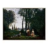 Jean Baptiste Camille Corot Cuadro al óleo 'El concierto campestre' Lienzo.Cuadro de arte de pared de lienzo para decoración del hogar 40x50cm (16x20in) sin marco