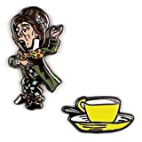The Unemployed Philosophers Guild Mad Hatter and Teacup Enamel Pin Set - 2 Unique Colored Metal Lapel Pins