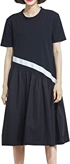 ellazhu Women's Summer Round Neck Patchwork Black Dresses GA1392