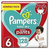 Couches Pampers Baby-Dry Pantalon taille 6, 128couches culottes, 15+kg, mensuel d'économie d'Lot, Easy-On avec canaux d'air pour jusqu'à 12heures d'respirant Sécheresse