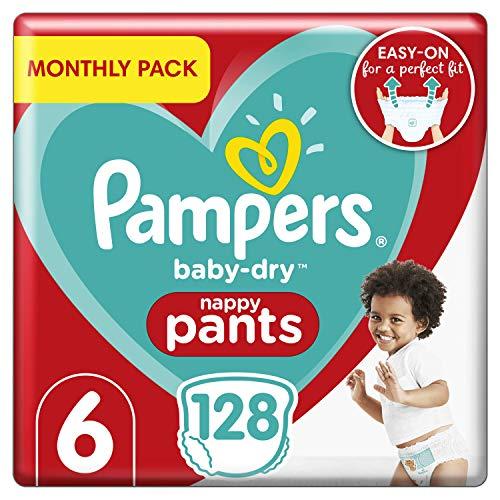 Pampers Baby-Dry Windelhose Größe 6, 128 Windelhöschen, 15+kg, Monatspackung, Easy-On mit Luftkanälen für bis zu 12 Stunden atmungsaktive Trockenheit